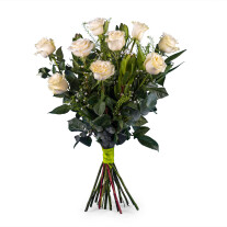 9 Long-stemmed White Roses